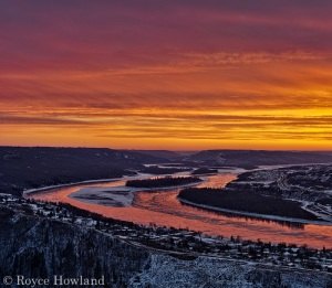 "Sunset light burning over the river as seen from the gravesite of ""12 Foot"" Davis, Peace River"
