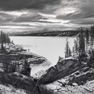 Stormy Winter Sundown, Abraham Lake. Copyright © Royce Howland.