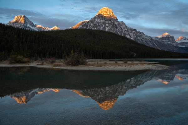 Sunrise at Waterfowl Lake. Copyright © Ellen Kinsel.